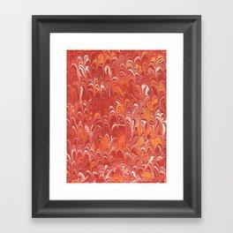 Red Scalloped Marbling Framed Art Print