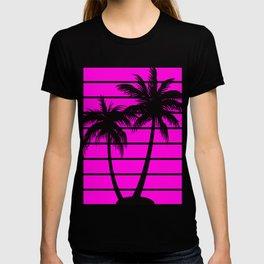 Pink Palms Retro Graphics T-shirt