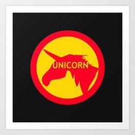unicorn traffic sign  Art Print
