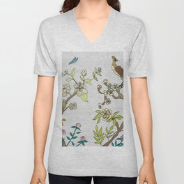 Chinoiserie Panels 3-4 Silver Gray Raw Silk - Casart Scenoiserie Collection Unisex V-Neck