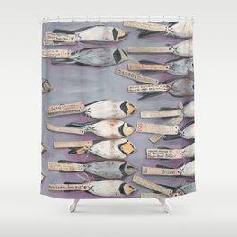 Horned Larks Specimen Shower Curtain