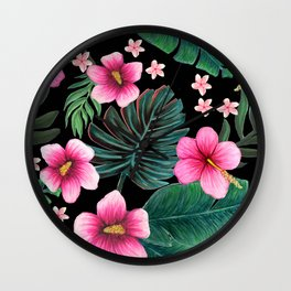 Hibiscus, Plumeria and palm jungle tropical floral Wall Clock