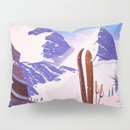 Breuil-Cervinia Valle d'Aosta Italy Ski poster. Pillow Sham