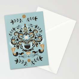 Scandinavian Winter Celebration With Birds Stationery Cards