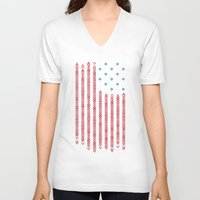 patriots V-neck T-shirts featuring Native Patriots by Steven Toang