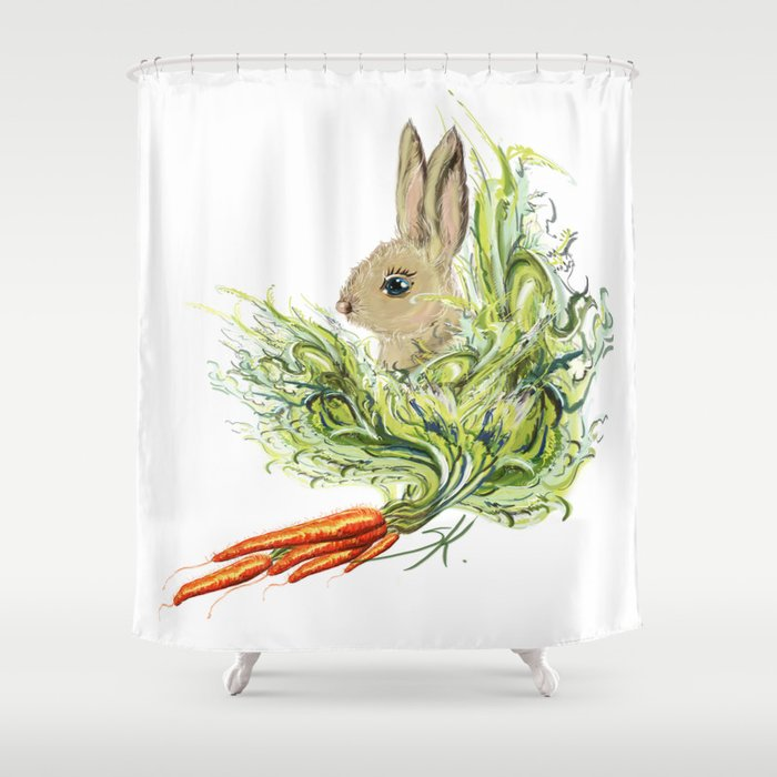 Rabbit Shower Curtain By Sklakina