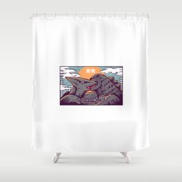 Kaiju kiss Shower Curtain