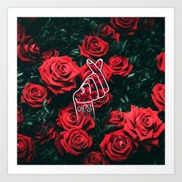Love Finger Snap Roses Art Print