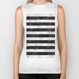 Black and White Marble Stripes Biker Tank