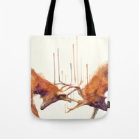 strong Tote Bags featuring Stags // Strong by Amy Hamilton