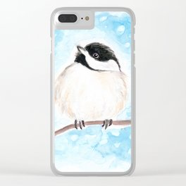 Cute Chickadee Watercolor Clear iPhone Case