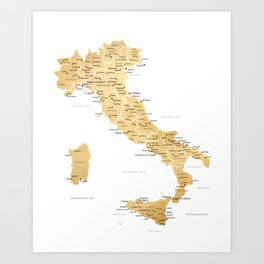 Map of italy with cities in gold - P Art Print