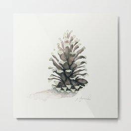 Pinecone Watercolor Metal Print