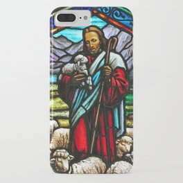 Jesus and lambs stained glass iPhone Case