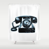 telephone Shower Curtains featuring Old Telephone by Mr and Mrs Quirynen
