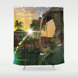 Beautiful latern boat at the jetty at night Shower Curtain
