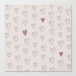 purple hearts Canvas Print