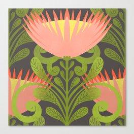 King Protea Flower Pattern - Gray Canvas Print