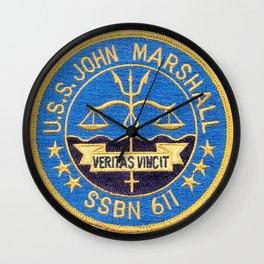 USS JOHN MARSHALL  (SSBN-611) PATCH Wall Clock
