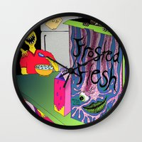 in the flesh Wall Clocks featuring Frosted Flesh by Masmantha