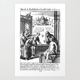 King David lusts after Bathsheba Art Print