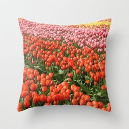 Tulips, nature, Washington State, Floral Rainbow Throw Pillow