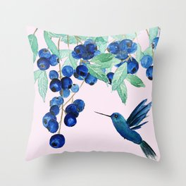 blueberry and humming bird Throw Pillow