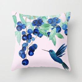 blueberry and humming bird Throw Pillow