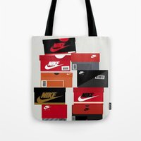 sneaker Tote Bags featuring SNEAKER HEAD RED by RickART