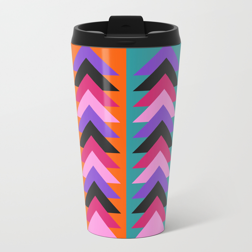 Multicolored Arrows And Bright Stripes Metal Travel Mug by Cocosabstractions MTM8796126