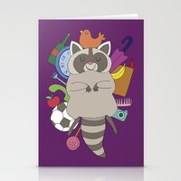 racoon Stationery Cards featuring Happy Racoon by Noelia Muñoz
