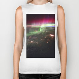 Space Station Northern Lights over Pacific Northwest - North America Photograph Biker Tank