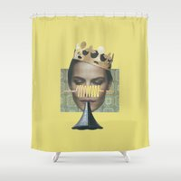 trumpet Shower Curtains featuring Sad trumpet in yellow by fabiotir