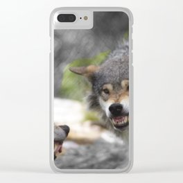 Wolves Sibling Fight Clear iPhone Case