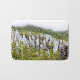 Limestone pinnacles formation at Gunung Mulu national park Borneo Malaysia Bath Mat