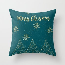Merry Christmas Teal Gold Throw Pillow