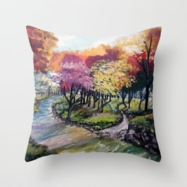 Colors Blooming Throw Pillow
