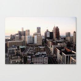 Downtown Detroit Skyline Woodward Avenue Canvas Print
