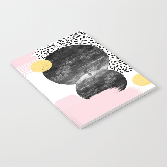 Roussel - pink pastel girly hipster trendy art decor dorm college brooklyn abstract minimal painting Notebook