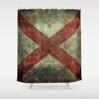alabama Shower Curtains featuring Alabama state flag by Bruce Stanfield