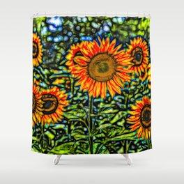 Sunflower Kaleidoscope Shower Curtain