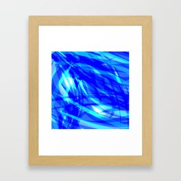 Vector glowing water background made of blue sea lines. Framed Art Print