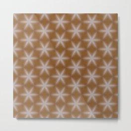 Shiny wood texture snowflake stars pattern 1 Metal Print