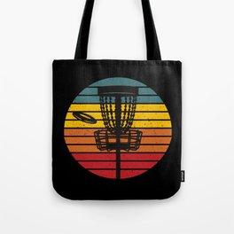 Disc Golf Basket Chains Retro Sunset Tote Bag