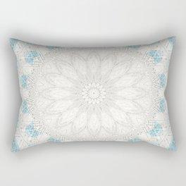 Bohemian Sea Foam Blue Creme Mandala Rectangular Pillow