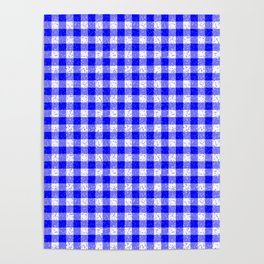 Gingham Blue and White Pattern Poster
