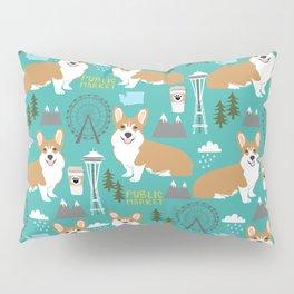 Corgi seattle washington welsh corgi pattern print dog lover gifts space needle ferris wheel coffee Pillow Sham
