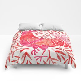 Le Coq – Watercolor Rooster with Red Leaves Comforters