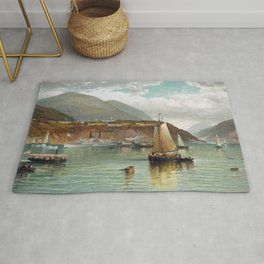 Boats On The Hudson With West Point In The Background - Andrew Melrose Rug