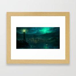 Haunted fishing village Framed Art Print